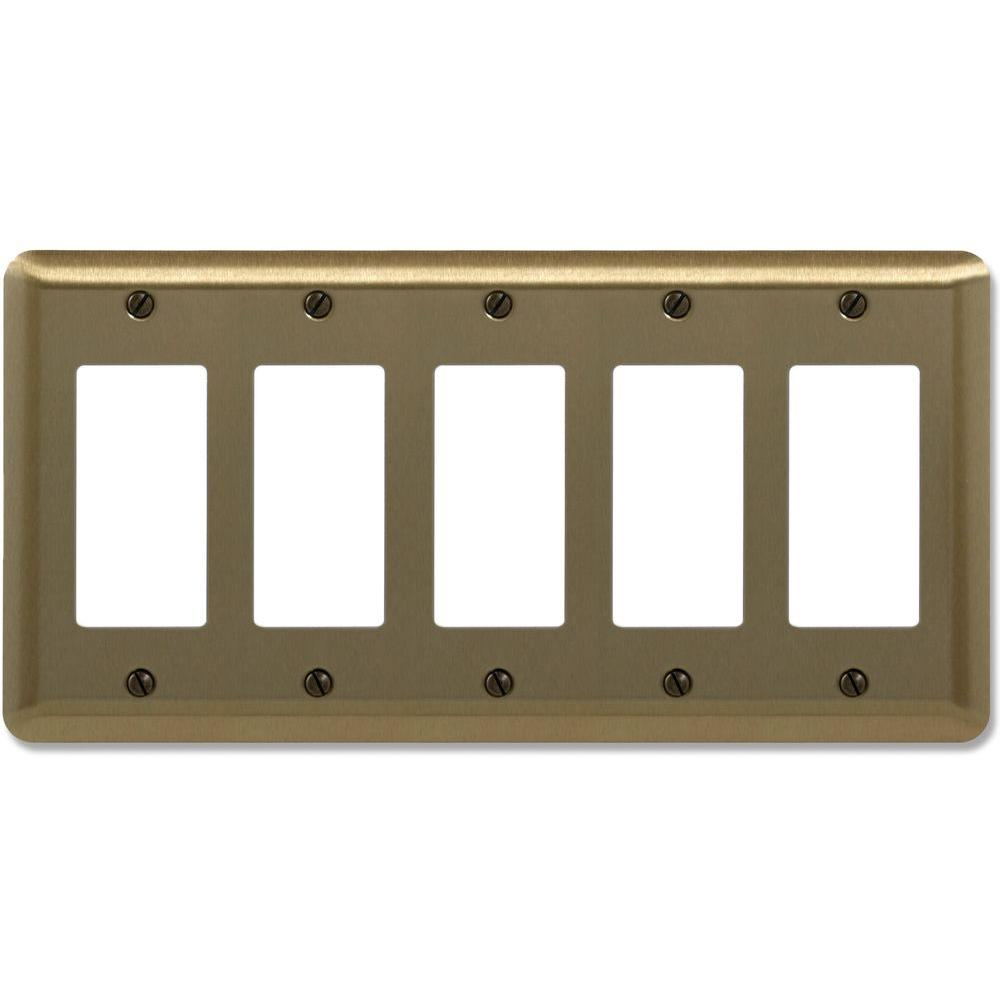 Amerelle Steel 5 Decora Wall Plate - Brushed Brass