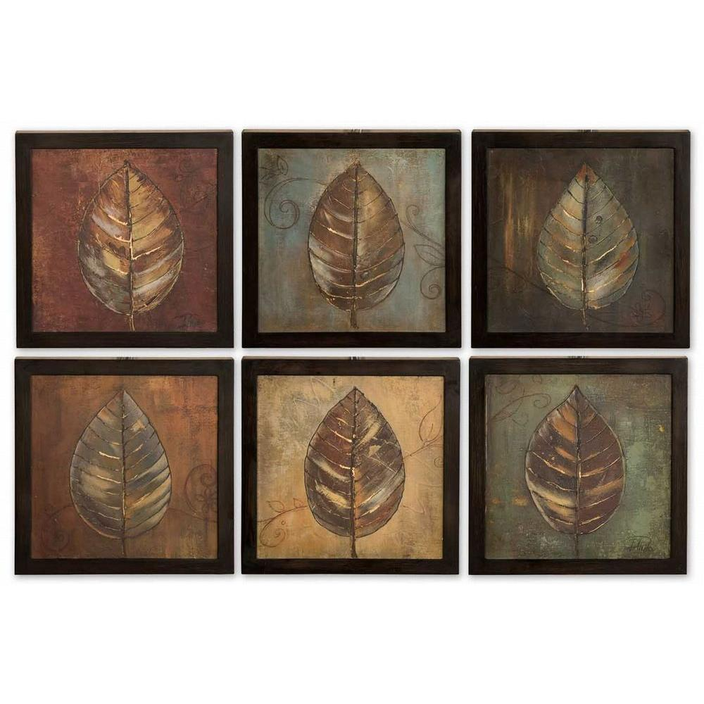 Global Direct 14 in. x 14 in. New Leaf Panel Wall Art (6 Piece)-DISCONTINUED