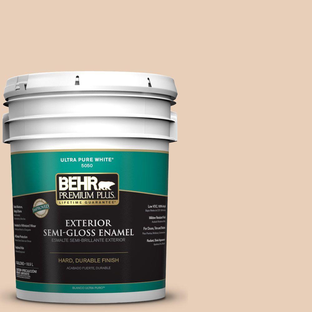BEHR Premium Plus 5-gal. #S230-1 Buff Tone Semi-Gloss Enamel Exterior Paint