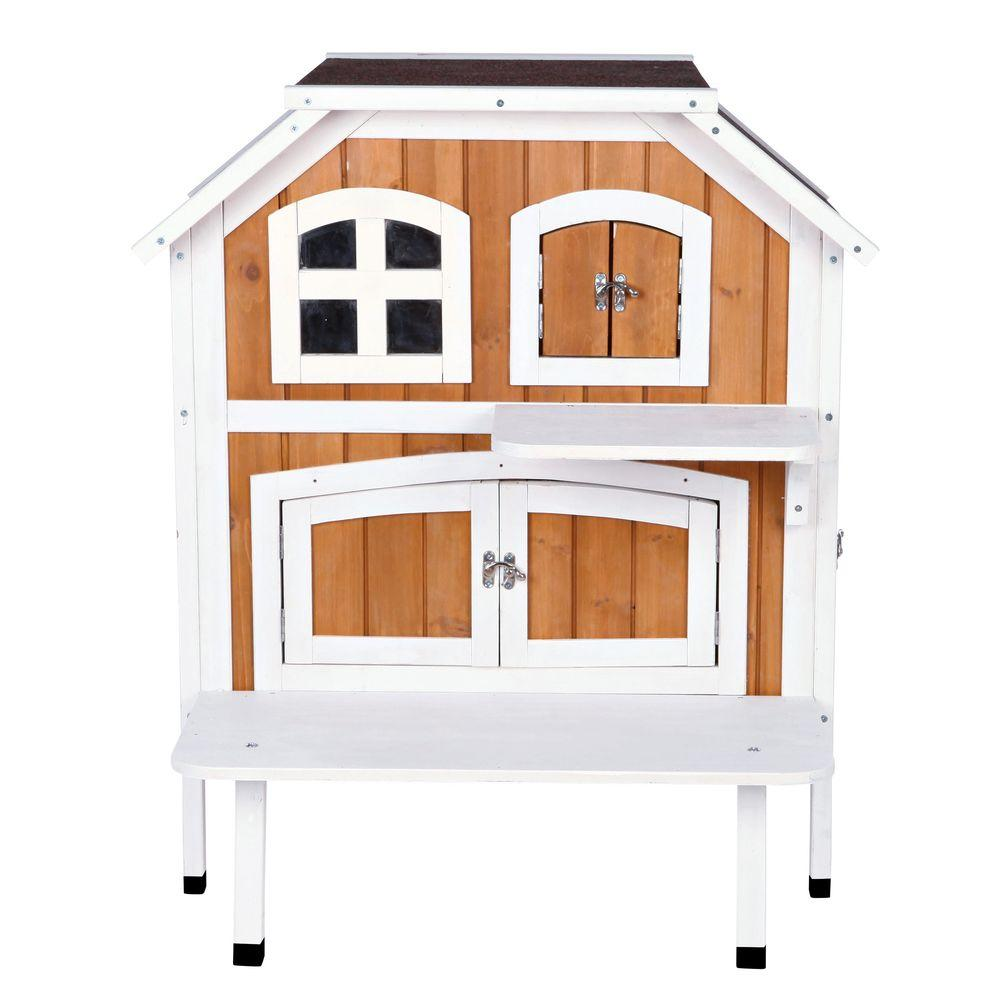 TRIXIE 30.5 in. L x 22.75 in. W x 35.25 in. H 2-Story Wooden Cat ...