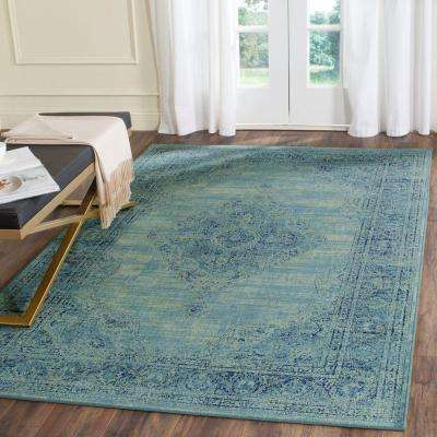 Vintage Turquoise/Multi 6 ft. 7 in. x 9 ft. 2 in. Area Rug