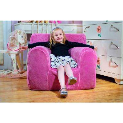 Kids Small Foam Chair with Pink Plush Cover