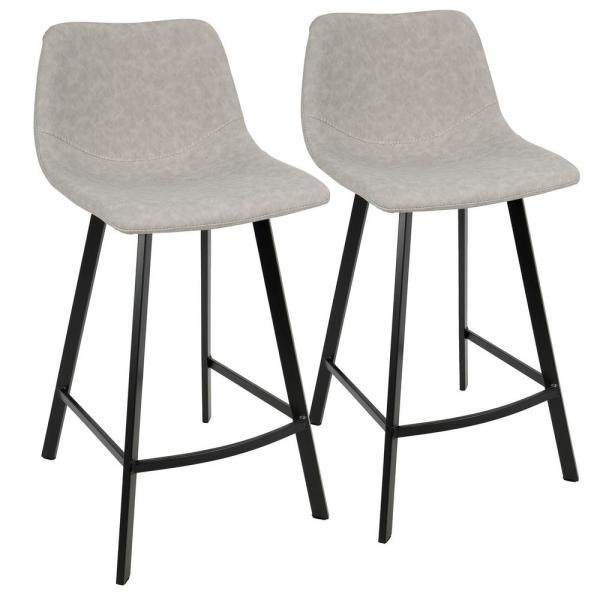 Outlaw Industrial Grey Counter Stool in Faux Suede (Set of 2)