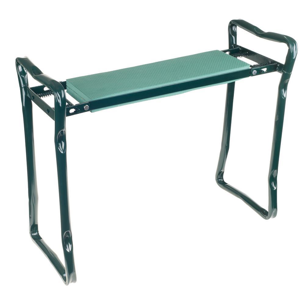 Pure Garden Metal Outdoor Folding Garden Bench with Foam Green Cushion