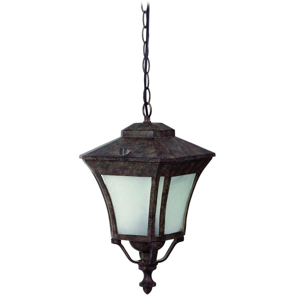 Yosemite Home Decor Borrego 9 in. Fluorescent Desert Night Frame Hanging Exterior Light with Frosted Glass