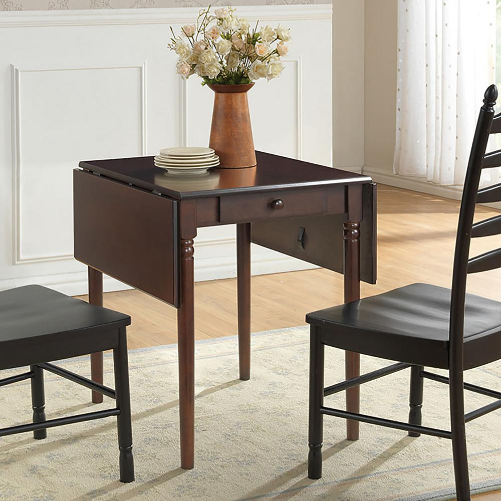 Carolina cottage olivia dark brown drop leaf dining table for Durable kitchen table