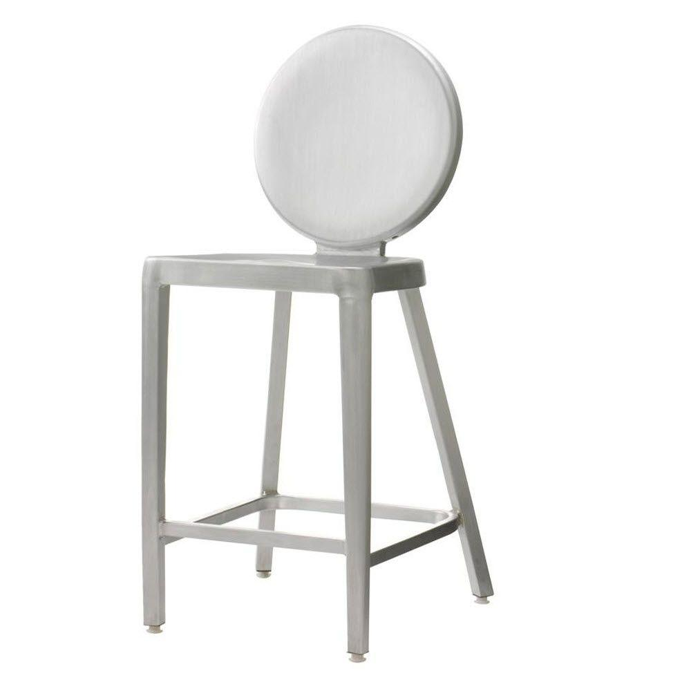 Home Decorators Collection Samantha 24 In. Brushed Aluminum Bar Stool  1042500250   The Home Depot