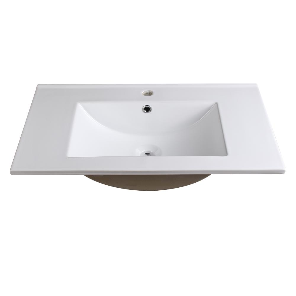 Allier 30 in. Drop-In Ceramic Bathroom Sink in White with Integrated