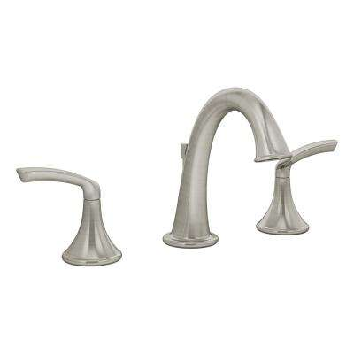 Elm 8 in. Widespread 2-Handle Bathroom Faucet with Drain Assembly in Brushed Nickel