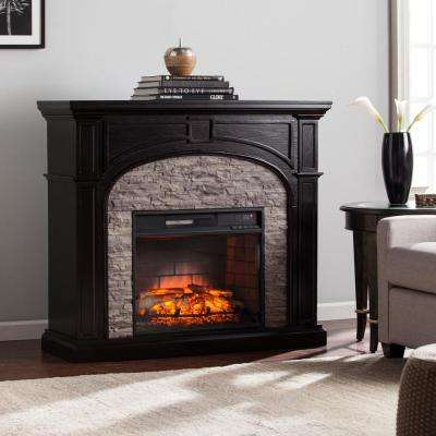 Granby 45.75 in. W Infrared Electric Fireplace in Ebony with Gray Stone