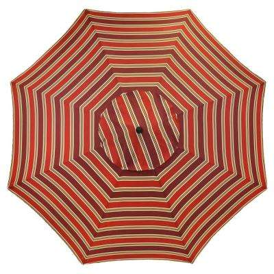 11 ft. Aluminum Patio Umbrella in Chili Stripe
