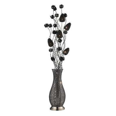 Delightful Chrome And Black Floral Display Floor Lamp