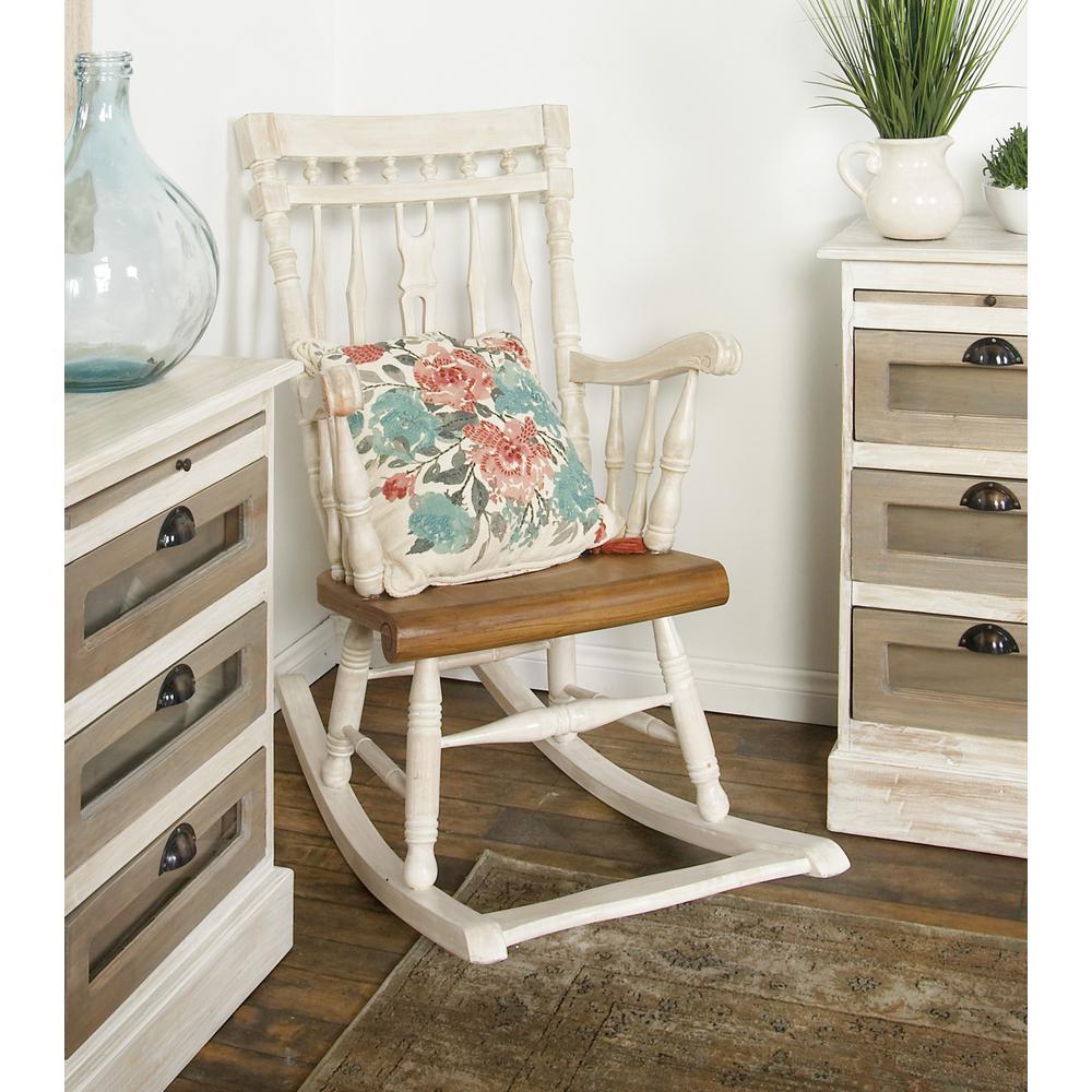 White Mahogany Wood Windsor Rocking Chair
