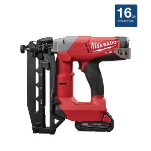 Milwaukee M18 FUEL 18-Volt Lithium-Ion Brushless Cordless 16-Gauge Straight Finish Nailer Kit W/ (1) 2.0Ah... by Milwaukee