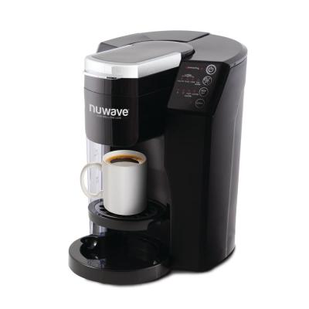 Bruhub Black Single Serve Coffee Maker with Plastic Carafe