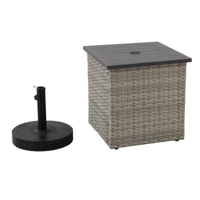 Rosalie Gray Square Steel Side Table with Umbrella Stand