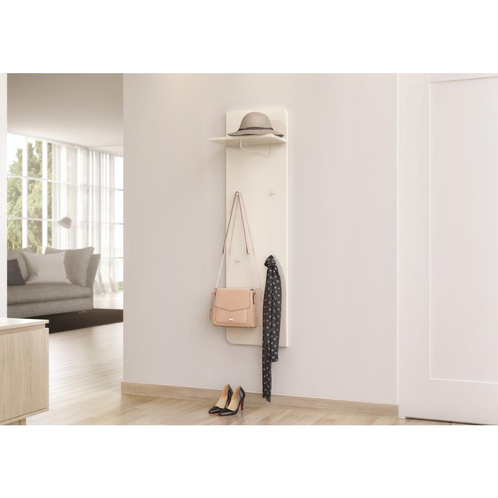 Goccia 63 in. H x 15.75 in. W and Shelf 15.75 in. D Glossy White Modern Wall Mounted Coat Rack with Shelf