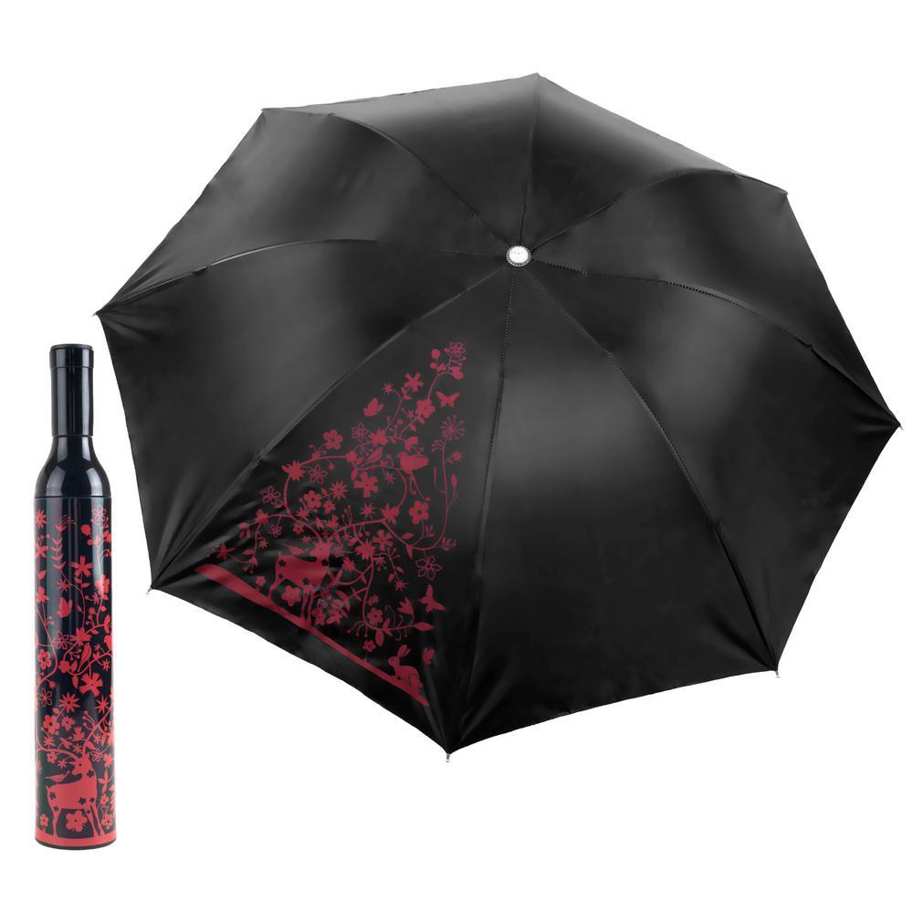 Red and Black Wine Bottle Umbrella