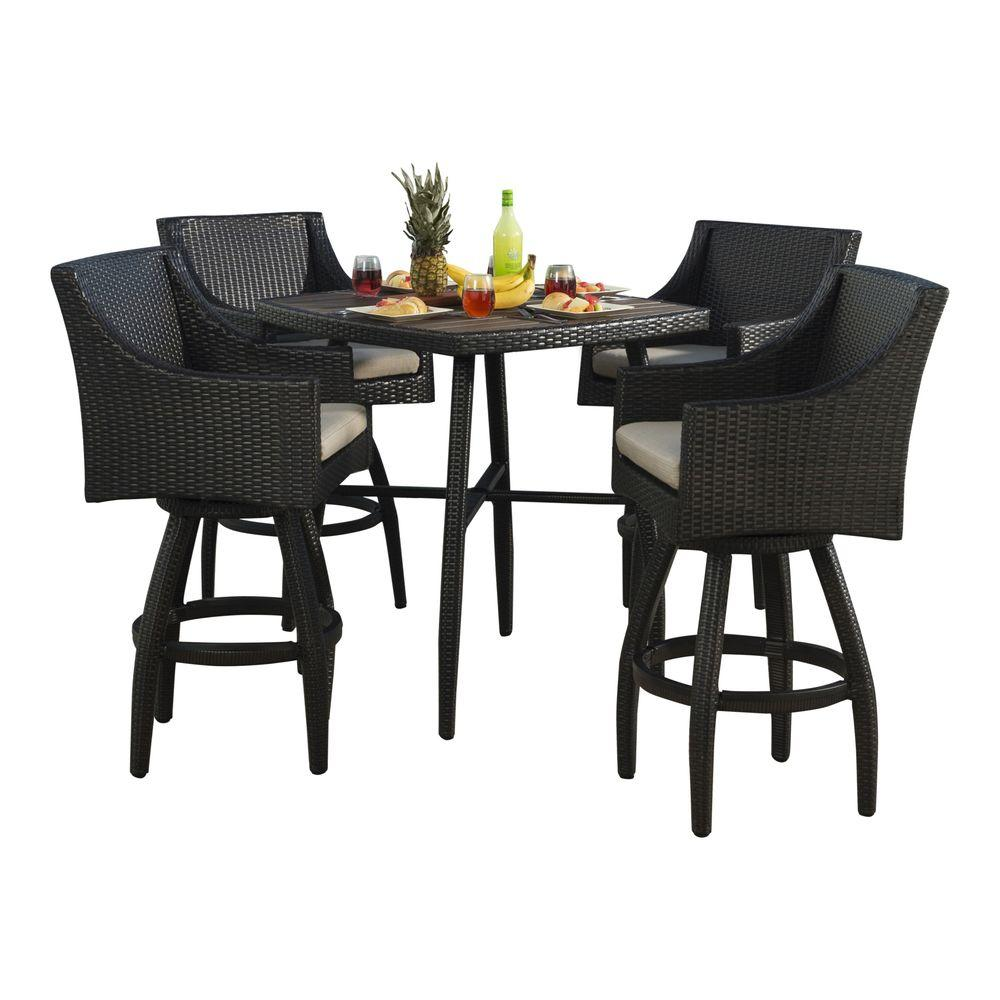 rst brands deco 5 piece all weather wicker patio bar. Black Bedroom Furniture Sets. Home Design Ideas