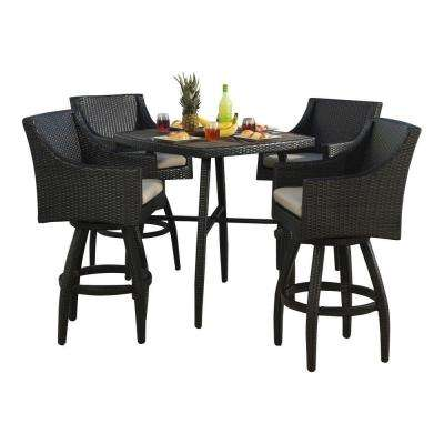 Deco 5 Piece All Weather Wicker Patio Bar Height Dining