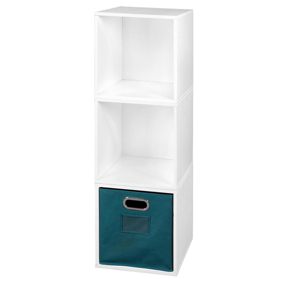 Cubo 39 in. H x 13 in. W White Wood Grain/Teal