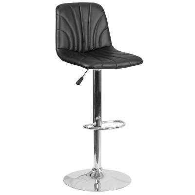 33.25 in. Adjustable Height Black Cushioned Bar Stool