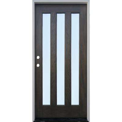 36 in. x 80 in. 3-Lite with Reed Glass Ash Mahogany Right Hand Inswing Prehung Front Door