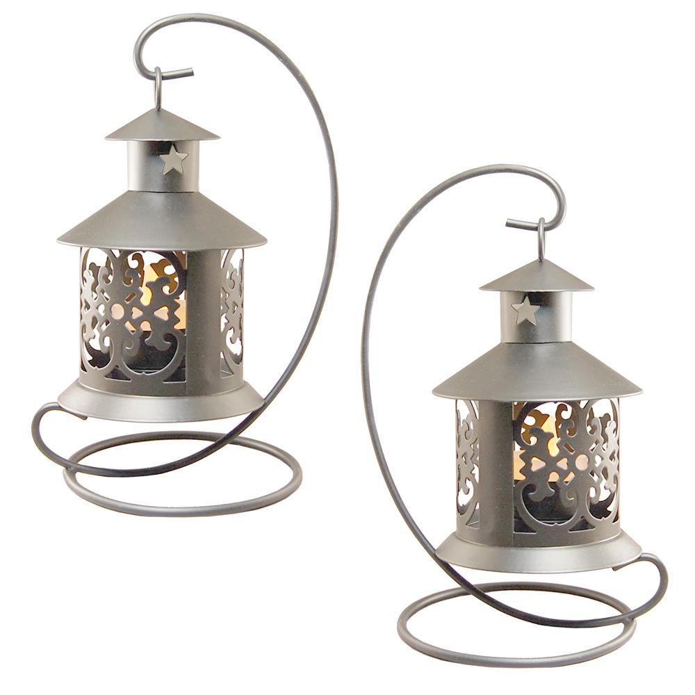 Lantern 5 in. x 9 in. Metal Lantern Silver Hanging Design
