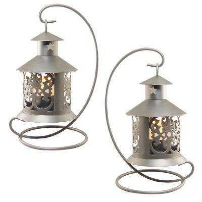 Lantern 5 in. x 9 in. Metal Lantern Silver Hanging Design (2-Count)