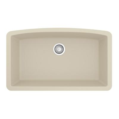 Undermount Quartz Composite 32 in. Single Bowl Kitchen Sink in Bisque