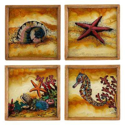 4 in. 4-Piece Assorted Square Sea Shore Coaster Set