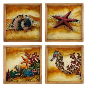 4 inch 4-Piece Assorted Square Sea Shore Coaster Set by