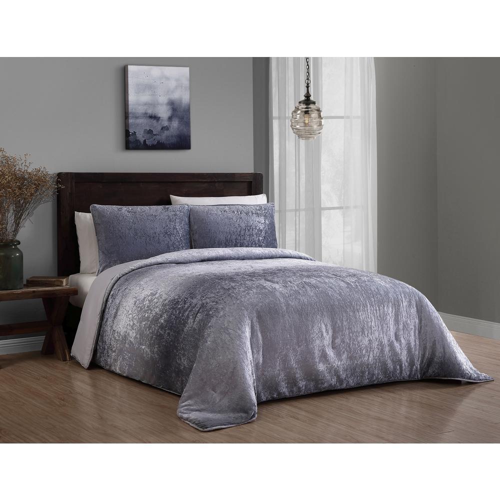 Bradshaw 3 Piece Gray Queen Velvet Ombre Comforter Set
