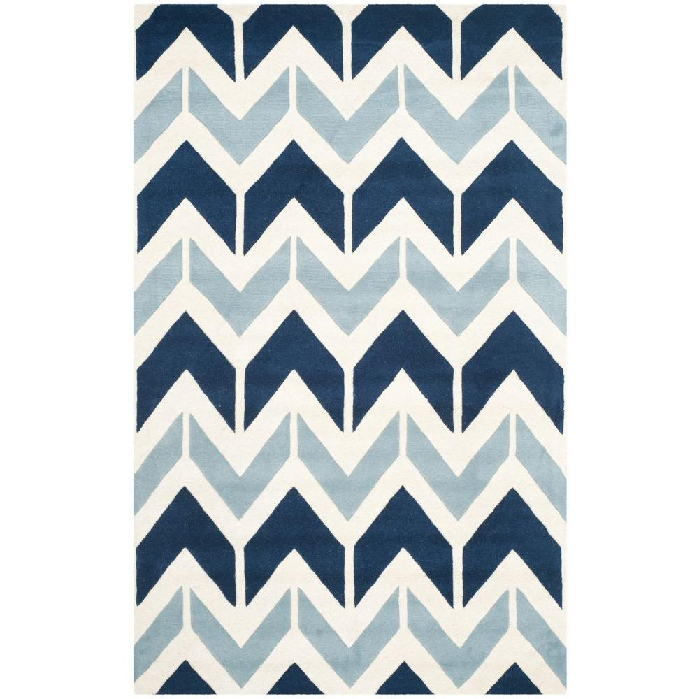 Chatham Dark Blue/Light Blue 5 ft. x 8 ft. Area Rug