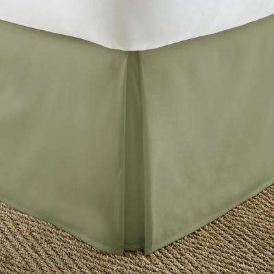 Pleated Dust Ruffle Sage Queen Performance Bed Skirt