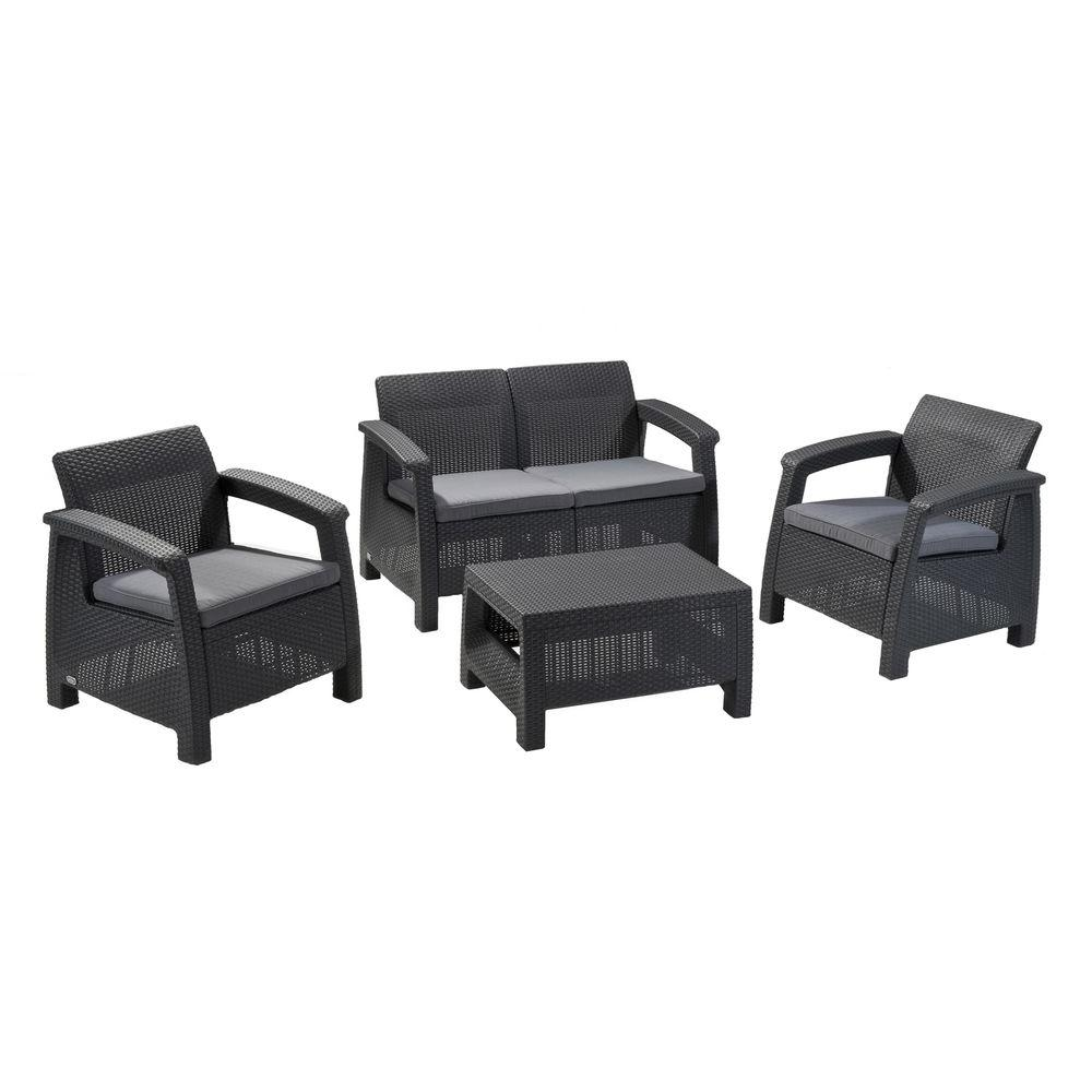 Keter Corfu Grey 4 Piece All Weather Resin Patio Seating Set With Cushions
