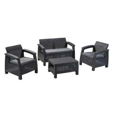 Corfu Grey 4-Piece All-Weather Resin Patio Seating Set with Grey Cushions