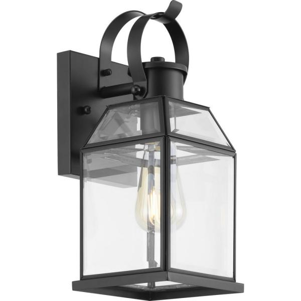 Canton Heights 1-Light 12.75 in. Matte Black Outdoor Wall Lantern with Clear Beveled Glass