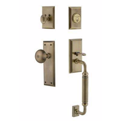 New York Plate 2-3/8 in. Backset Antique Brass C Grip Keyed Entry Handleset with New York Knob