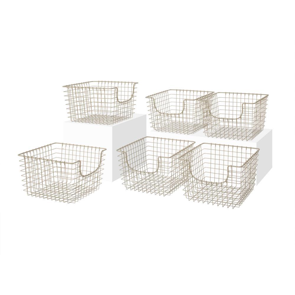 13 in. D x 12 in. W x 8 in. H Scoop Satin Nickel Medium Steel Wire Storage Bin Basket Organizer (6-Pack)