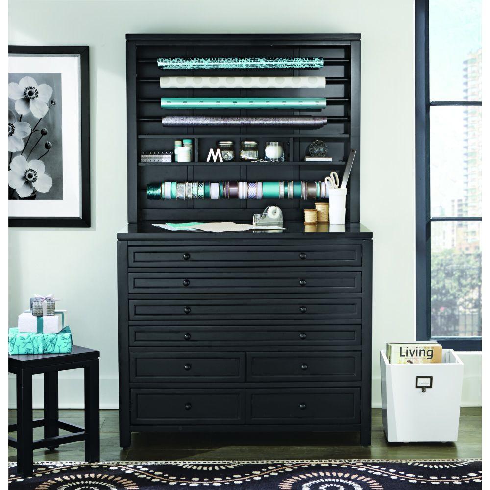 Martha Stewart Living Craft Space Silhouette Black 8 Drawer Flat File Cabinet (42 in. W)