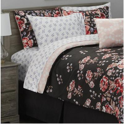 Leni 6-Piece Black/Rust Twin Bed in a Bag