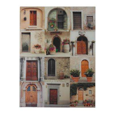 "32 in. x 25 in. ""Door Collage II"" Photograph Printed On Glass Wall Art"