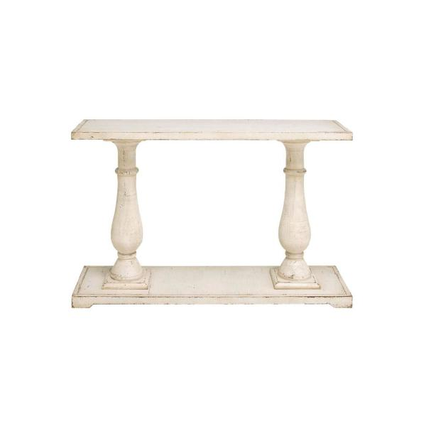 Antique White Wood Rectangular Console Table 52786