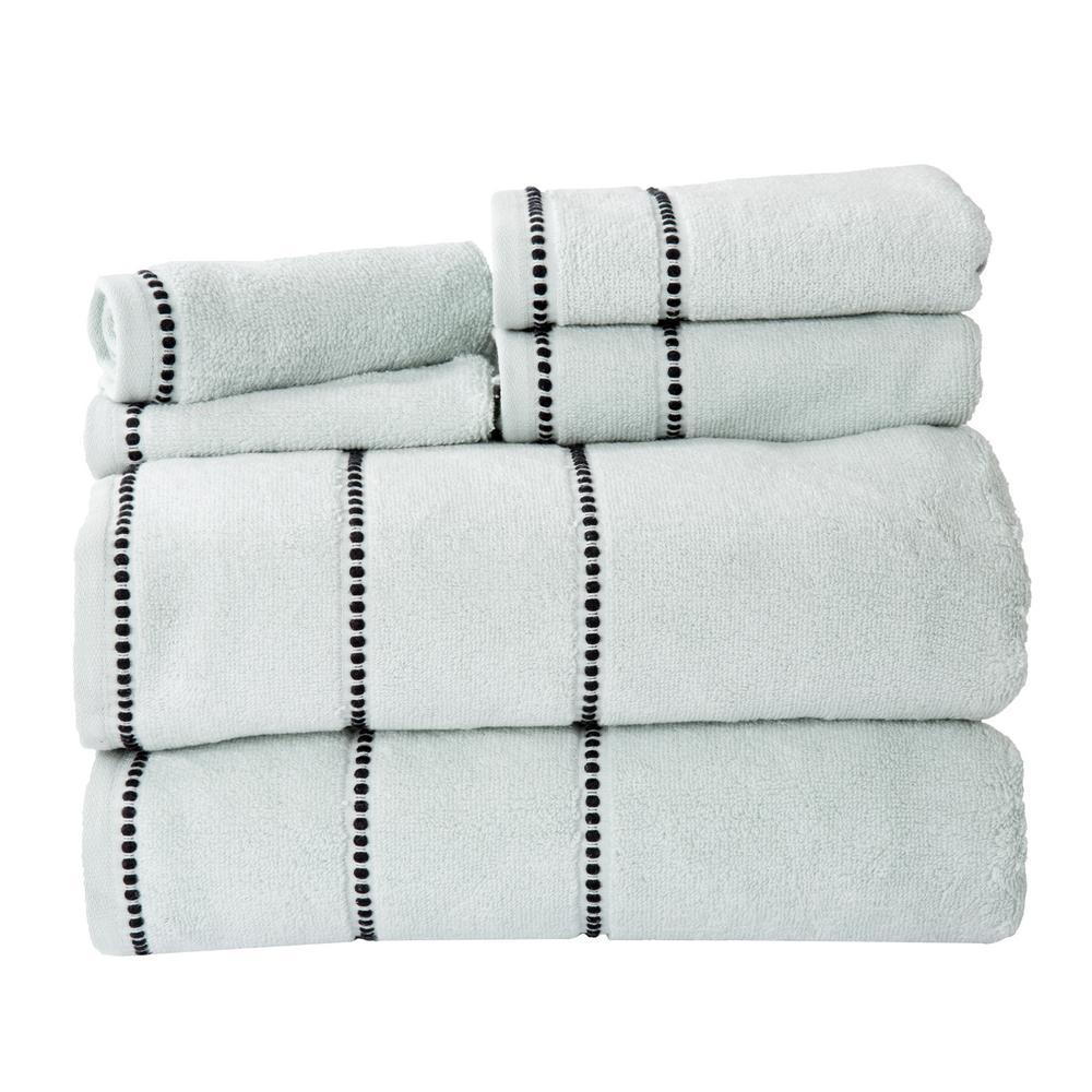 100% Cotton Zero Twist Quick Dry Towel Set in Seafoam (6-Piece)