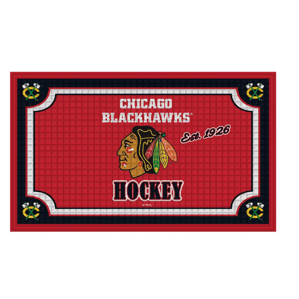 Evergreen Chicago Blackhawks 18 In. X 30 In. Embossed Welcome Mat