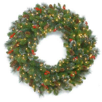 48 in. Crestwood Spruce Wreath with Clear Lights