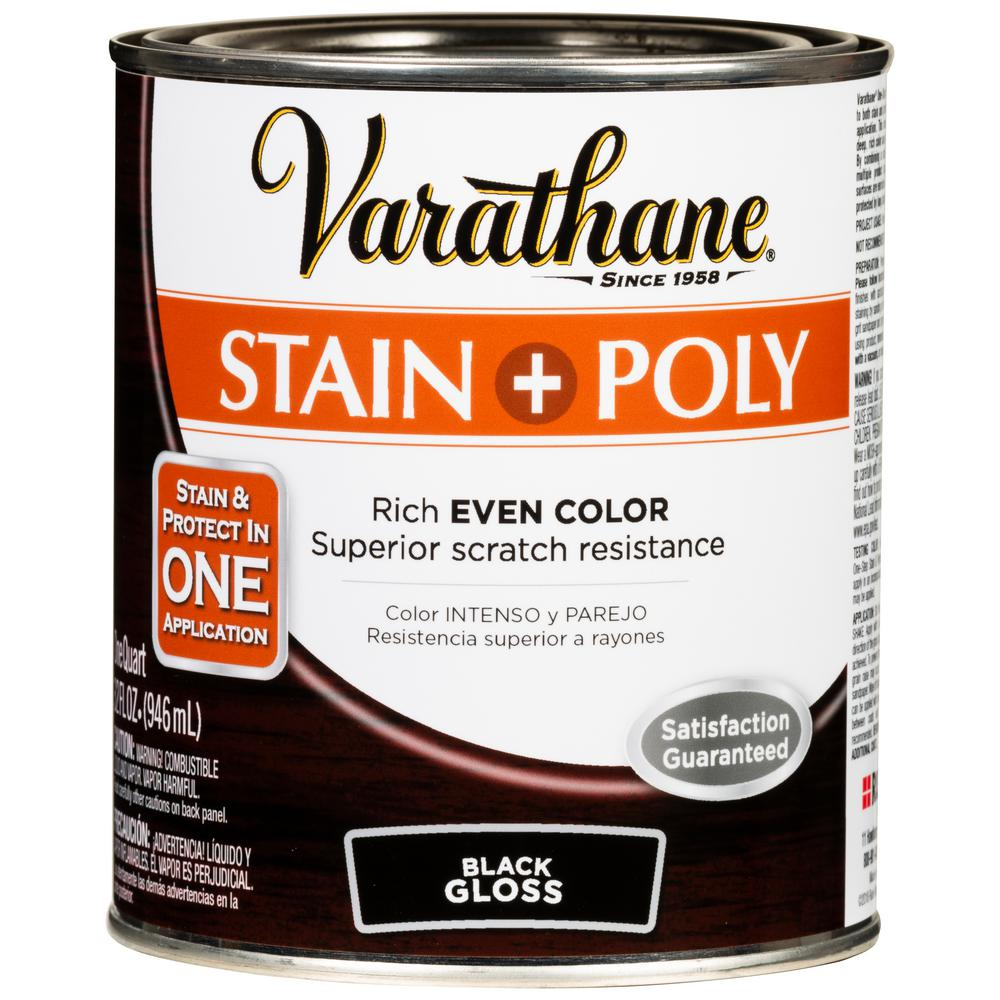 Varathane 1 Qt. Black 450 Gloss Oil-Based Interior Stain and Polyurethane (2-Pack)