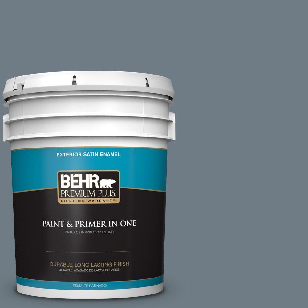 5-gal. #N490-5 Charcoal Blue Satin Enamel Exterior Paint