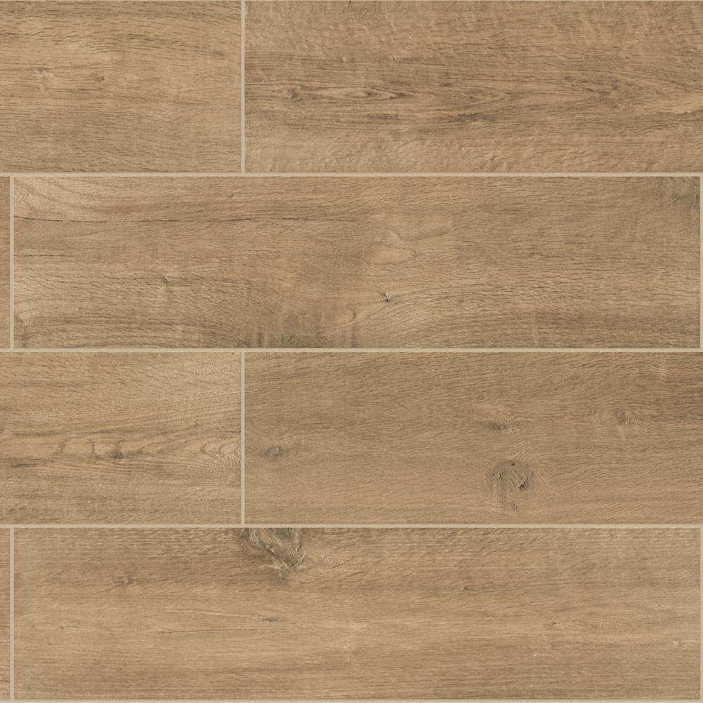 Daltile Meadow Wood Smoky Brown 6 In X 24 In Glazed Porcelain